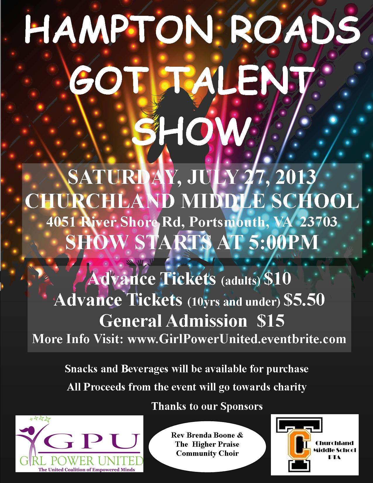 Talent Show Flyer | Virginia Nonprofit Girl Power United Inc To Host Hampton Roads